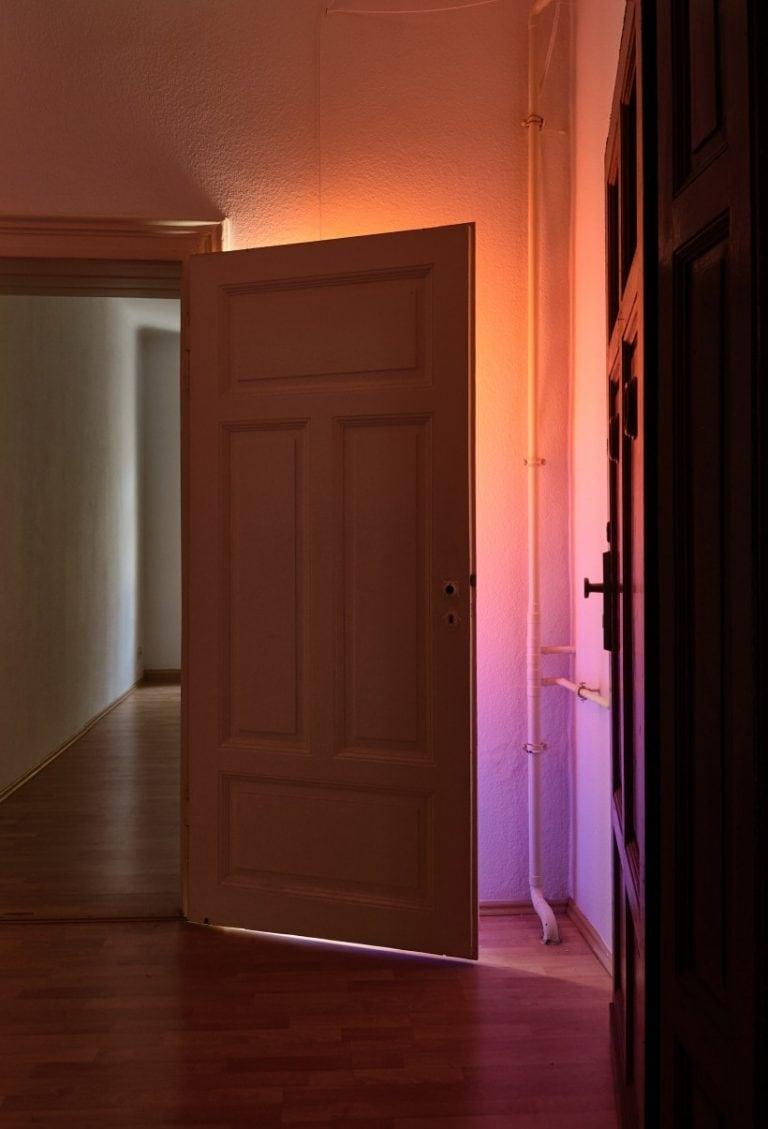 Doorswideopen 1 2018 200cm x 90cm Insitu, Acryl auf Leinwand an der Tür aufgehängt, Leuchtstoffröhre an der Wand montiert
